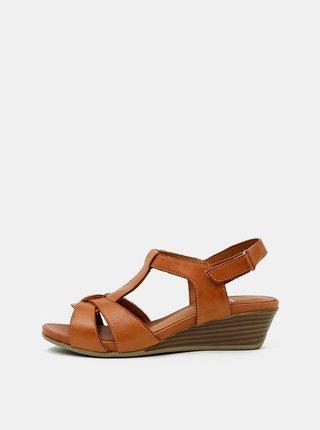 Hnědé kožené sandálky na klínku WILD