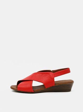 Červené kožené sandálky na klínku WILD