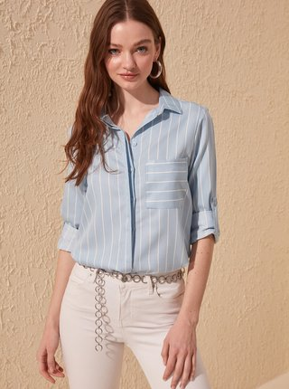Svetlomodrá pruhovaná košeľa Trendyol