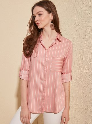 Růžová pruhovaná košile Trendyol