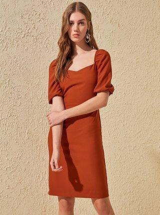 Cihlové šaty Trendyol