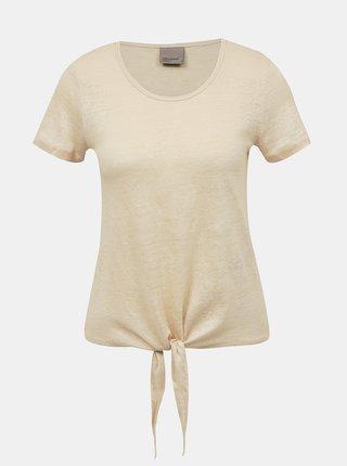 Béžové ľanové tričko VERO MODA