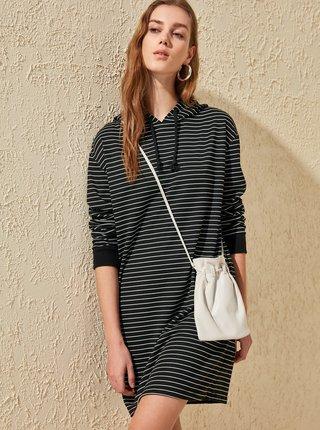 Bílo-černé mikinové šaty Trendyol