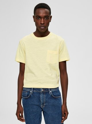 Žluté basic tričko Selected Homme Jared