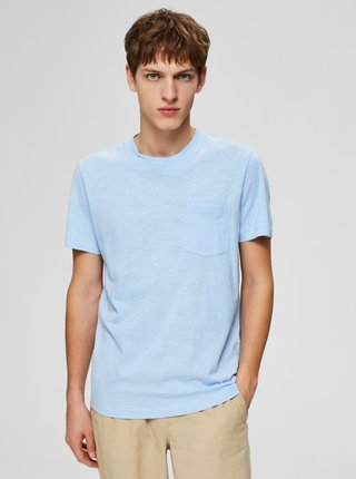 Svetlomodré basic tričko Selected Homme Jared