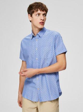 Svetlomodrá vzorovaná slim fit košeľa Selected Homme Matthew