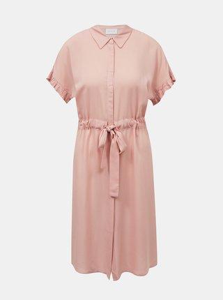 Svetloružové košeľové šaty VILA Sasia