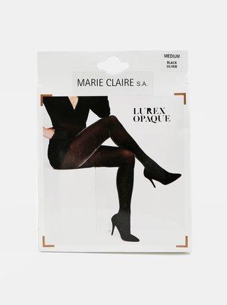 Čierne trblietavé pančuchové nohavice Marie Claire
