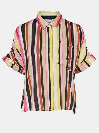 Žluto-růžová pruhovaná volná košile Noisy May Flora