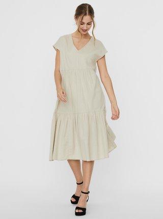 Krémové midi šaty s příměsí lnu Noisy May Hiram