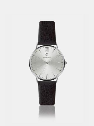 Dámske hodinky s čiernym koženým remienkom Paul McNeal