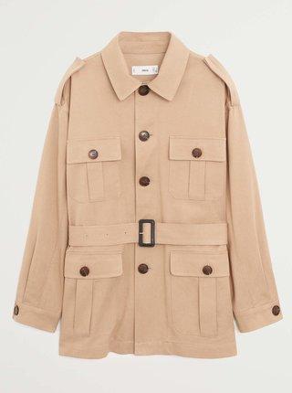 Béžová lehká bunda s kapsami Mango Cesi