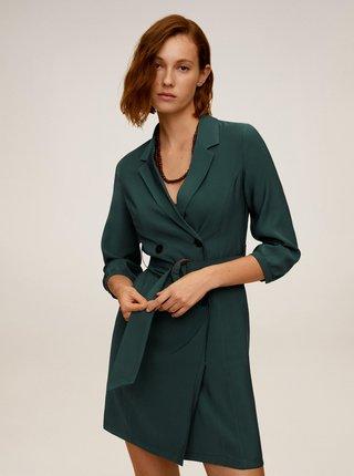 Tmavě zelené šaty s páskem Mango Tuxedo