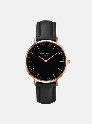 Dámské hodinky s černým koženým páskem Rosefield
