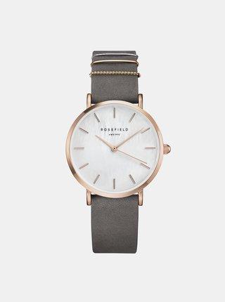 Dámské hodinky s šedým semišovým páskem Rosefield