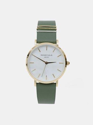 Dámské hodinky se zeleným koženým páskem Rosefield
