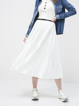 Bílá plisovaná midi sukně Lacoste