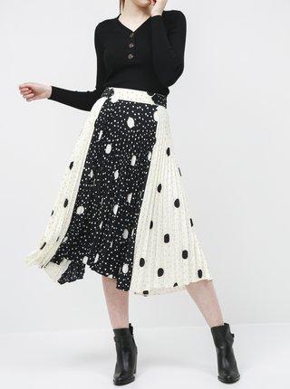 Bílo-černá puntíkovaná plisovaná midi sukně M&Co