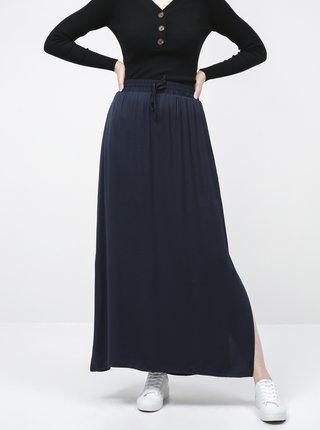 Tmavomodrá basic maxi sukňa VILA
