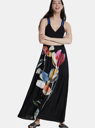 Čierne kvetované maxišaty Desigual