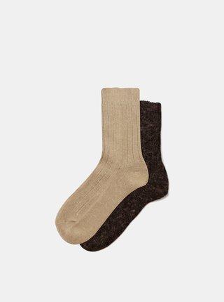 Sada dvou párů hnědých ponožek Marie Claire