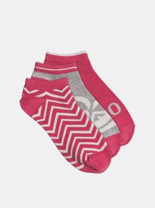 Sada tří párů ponožek v růžové barvě Roxy