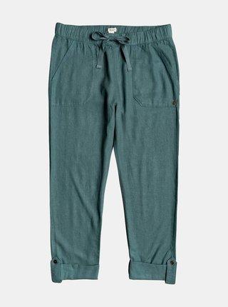 Zelené zkrácené lněné kalhoty Roxy