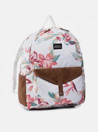 Bílý květovaný batoh Roxy