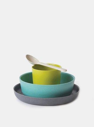 Modrá dětská bambusová sada nádobí Ekobo