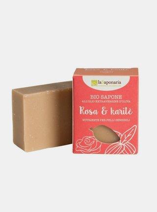 Tuhé olivové mýdlo BIO - Růžový olej a bambucké máslo 100 g laSaponaria