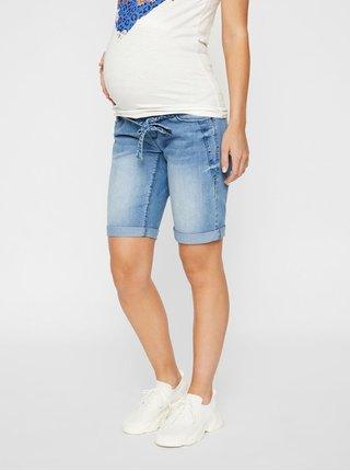 Modré tehotenské rifľové kraťasy Mama.licious