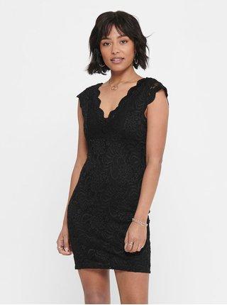 Černé krajkové pouzdrové šaty ONLY