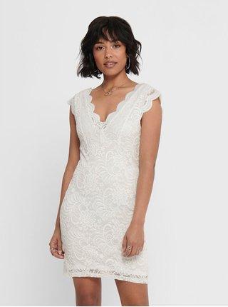 Bílé krajkové pouzdrové šaty ONLY
