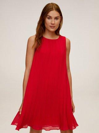 Červené plisované šaty Mango Mauro