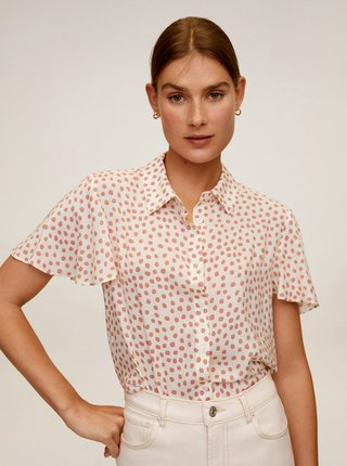 Krémová puntíkovaná košile Mango Clau