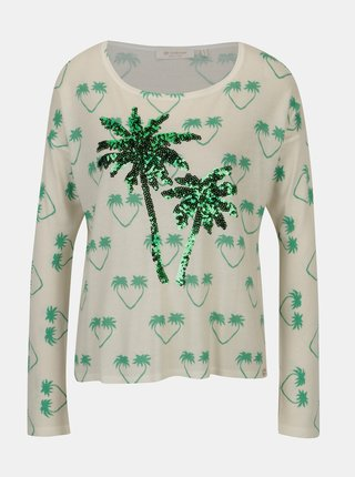 Bluza crem cu print si model din paiete - Rich & Royal