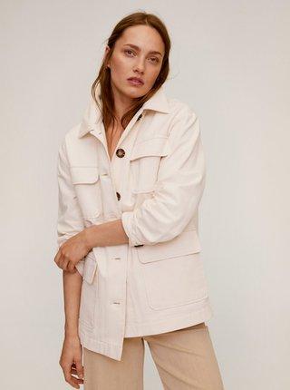 Krémová lehká bunda s kapsami Mango Margot