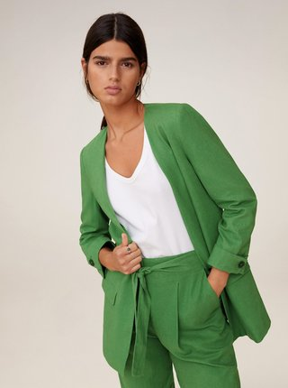Zelené lněné sako Mango Emma