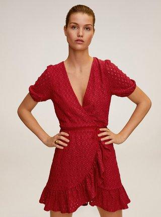 Červené zavinovací šaty Mango Pilar