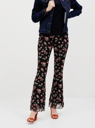 Černé květované flared fit kalhoty TALLY WEiJL