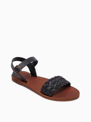 Čierne kožené sandále Roxy