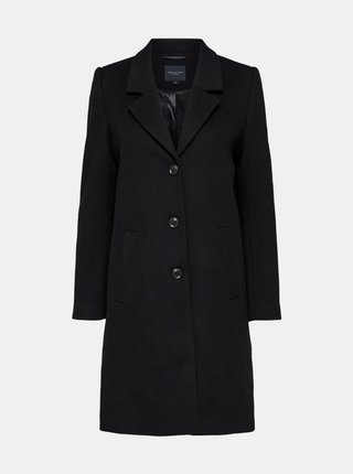 Černý vlněný kabát Selected Femme Sasja