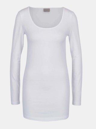 Bílé dlouhé basic tričko s dlouhým rukávem VERO MODA Maxi My