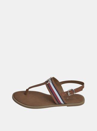 Hnědé dámské kožené sandály Tommy Hilfiger