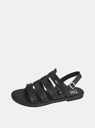 Čierne dámske kožené sandále Tommy Hilfiger