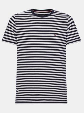 Bielo-čierne pánske pruhované basic tričko Tommy Hilfiger