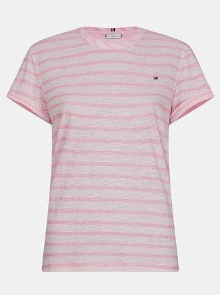 Růžové dámské pruhované lněné tričko Tommy Hilfiger