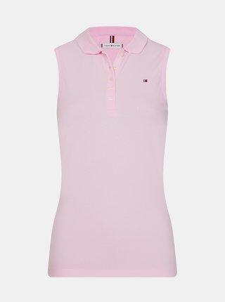 Růžové dámské basic polo tričko bez rukávů Tommy Hilfiger