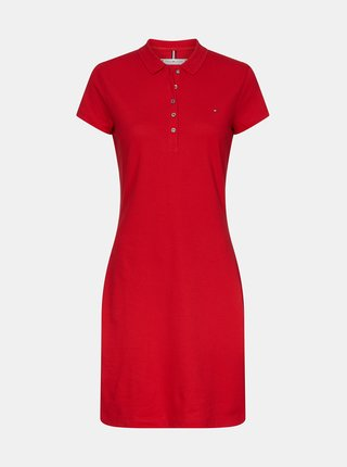 Červené basic polo šaty Tommy Hilfiger