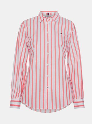 Ružová dámska pruhovaná košeľa Tommy Hilfiger